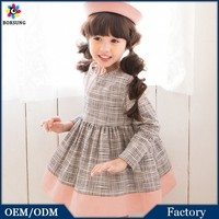 2015 High Quality Cotton Frock Designs Kids Clothes Long Sleeve Spring Children Flower Girl Dress