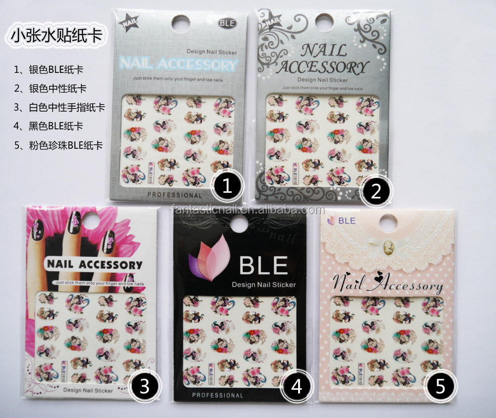 Stickers decals nail stickers nail art decals fashion - 2015 New Fashion Girls Playing Card Design Water Transfer Nail Sticker Nail Decals
