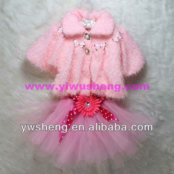 High quality wholesale child winter clothing, girl's set in children, winter set in children and light pink tutu
