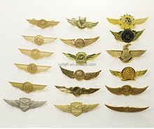 New hot custom metal pilot wings pin badge/airline pilot wings badge emirates/airline pilot wings pin