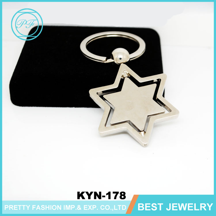 Hollow Five-pointed Star Shape Silver Key Chain For Custom Souvenir Keyring