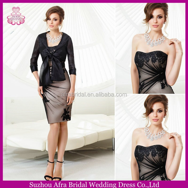 QQ345 long sleeve black knee length mother of the bride dress with jacket