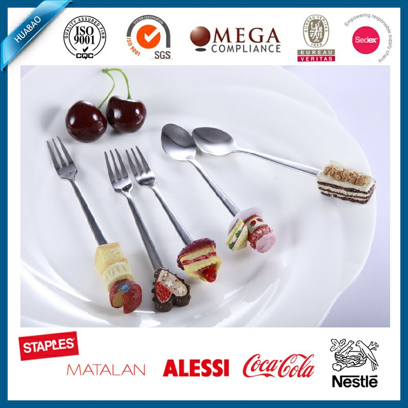 Artistical stainless steel dessert food and fork sets with polyresin handle