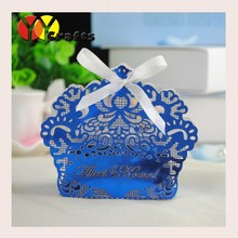 Shiny decorative box for wedding gifts or candys elegant crown shaped laser cut wedding favor boxes