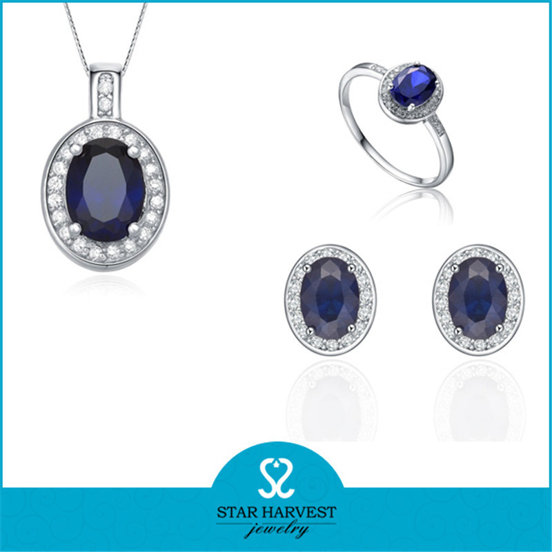 2017 Fashion Blue Zircon Prong Setting 925 Sterling Silver Jewelry Set