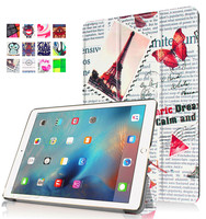 Colorful retro old newspaper pattern folding PU leather painting stand tablet case for iPad Pro 9.7