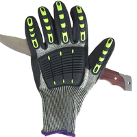 hign performance CE certificate glass fiber cut protective gloves with TPR chips on back