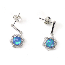 925 Sterling Silver Synthetic Blue Stone Opal Earring with cz diamonds