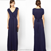 Latest fashion new designs V neck for tall women blue crepe long maxi dress cotton