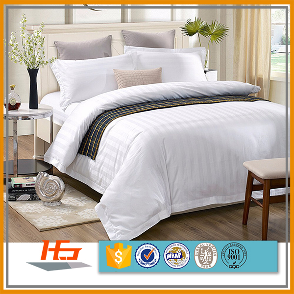Hotel Sateen Stripe Bedding Set Cotton Duvet Cover/Bed Sheet/Pillow Cases