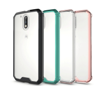 Fashion Hybrid Silicon Frame Hard Acrylic PC Transparent Mobile Phone Case For Motorola Moto G4 Plus