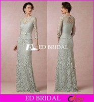 CE1464 Elegant 3/4 Sleeve Floor Length Mint Green Vintage Lace Mother Of The Bride Dress