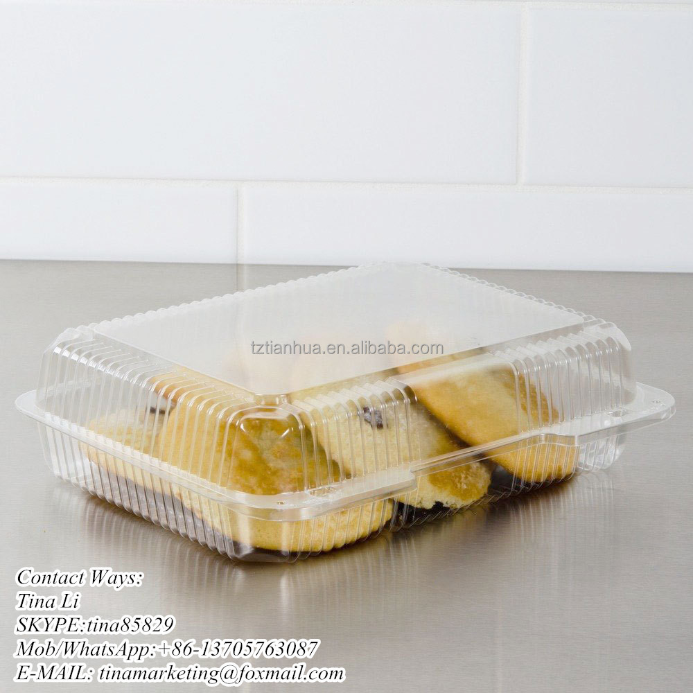 Disposable Transparent Plastic Clamshell Cookie Food Container, Bops Hinged Lid Cake Packaing Box