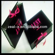 Black Off Set Printing Custom Artwork Hot Pink Ribbon Folding Gift Boxes For Wine Glasses Glass Boxes