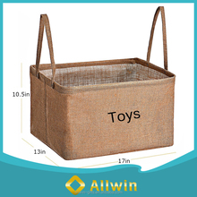 Foldable Toy Jute Storage Basket With Handles