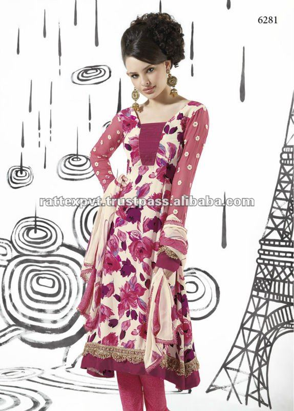 Silk Pink Full Sleeve Womens Salwar Kameez 2013