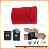 Sports Thick Solid Color Zipper Sweatband Wristband, Wrist Wallet from China