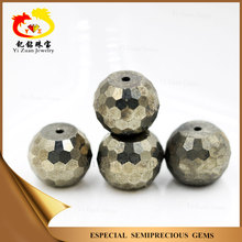 Professional facets cut Natural iron pyrite stone beads for sale