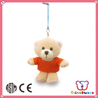 Familiar in oem odm factory hot selling soft animal shaped plush bear keyring