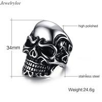 Wholesale Customize Design Metal Ring Men's Stainless Steel Jewelry Rings Punk Type Reaper Skull Head Black Silver
