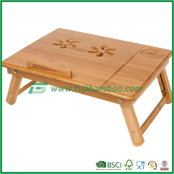 Bamboo Portable Laptop Desk/Table Foldable Breakfast Serving Bed Tray