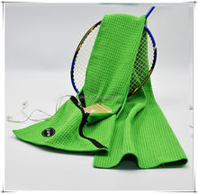 High Quality Microfiber Waffle Weave Golf Towels With Zipper Pocket