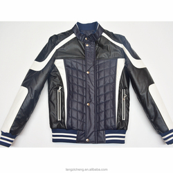 Top quality MJ009 Mens Leather Bomber Jacket Motorcycle