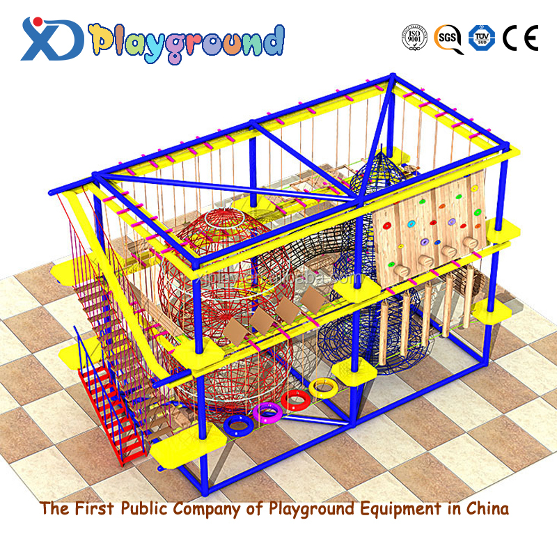 High quality colorful kids indoor adventure playground kids wooden climbing frames rope course <strong>development</strong>