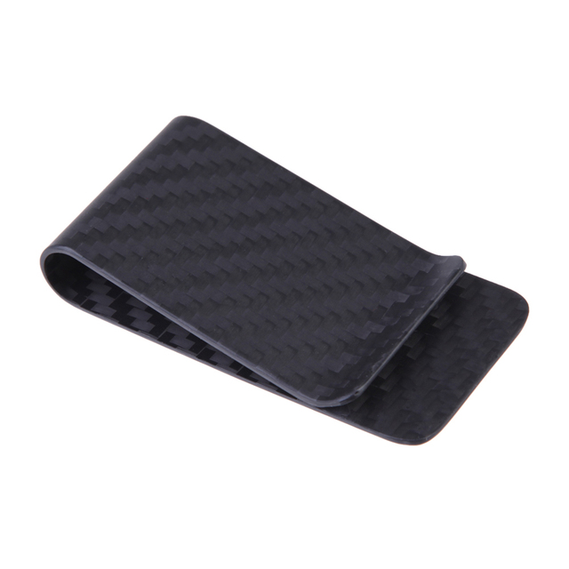 Real Carbon Fiber Money Clip Business Card Credit Card Cash Wallet Money Clips Polished and Matte for Options Gentleman Needs