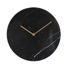 Wholesale Digital Marble Stone Black Round Wall Clock For Home Decoration