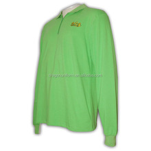 Customised Promotion Men Plain Zip Long Sleeve Green Polo T Shirts