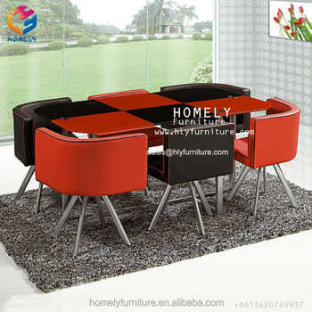 Professional Factory Tempered Glass Table Top Stainless Steel Base Upholstered Seat Price Glass Dining Table 6 Chairs Set