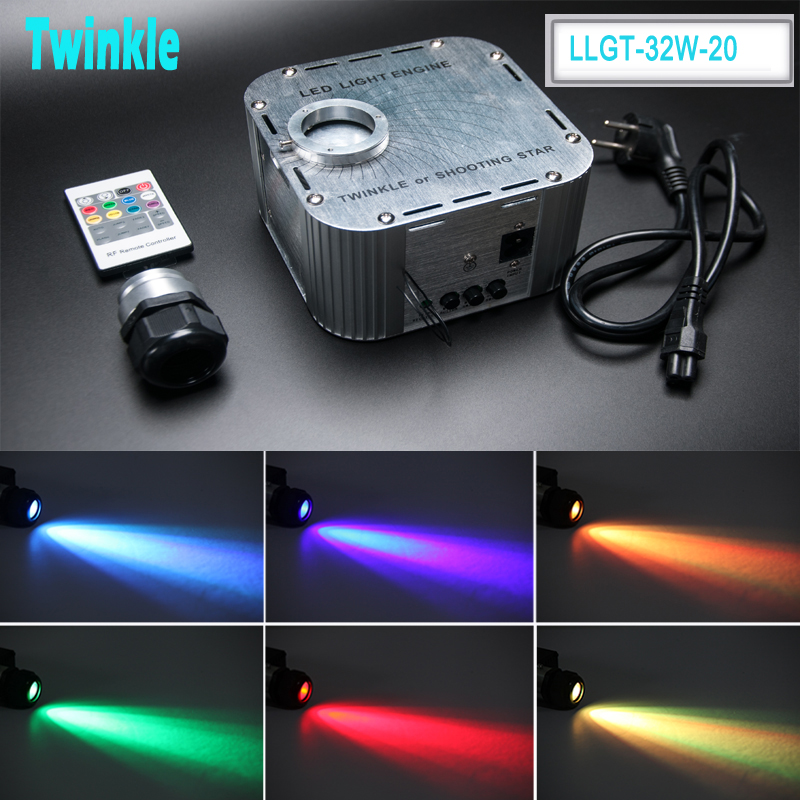 Twinkle 32W Color Wheel RGB LED Fiber Optic Light Engine with RF remote