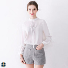 T-B505 New Design White Blouse for Ladies High Neck Tops