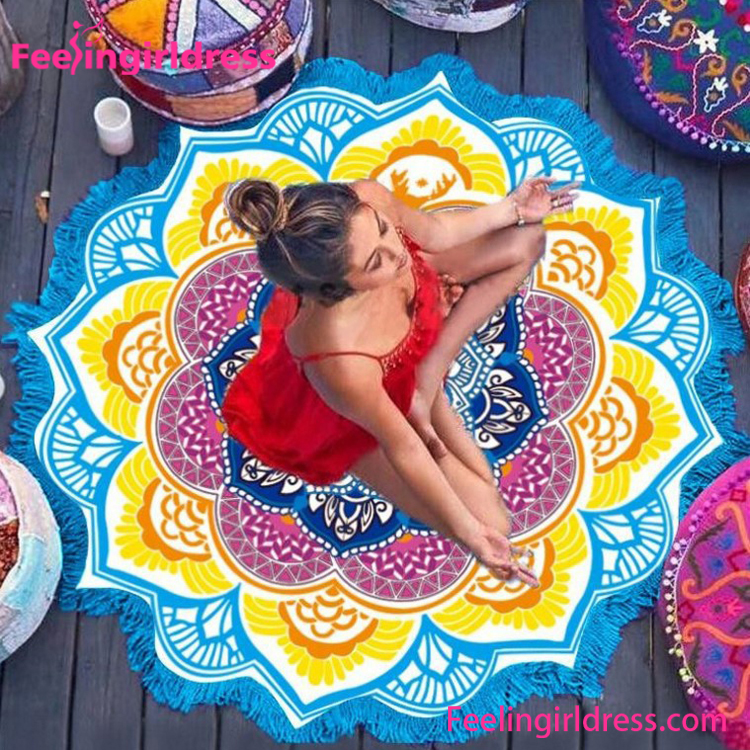 Yoga Mat Circle Mandala Throw Microfiber Towel Beach