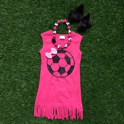 Free Shipping 2016 new design football dresses soccer hot pink dress ruffles dress with matching necklace and bow set