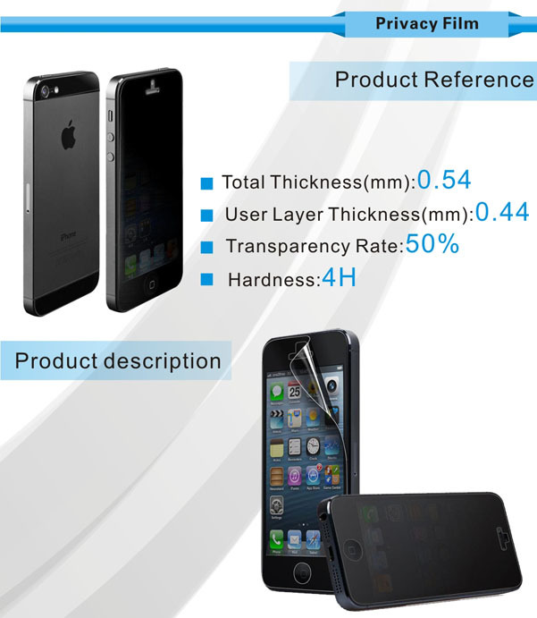 Sinva high quality 9H 0.33mm privacy anti-spy tempered glass screen protector for iphone 6/ 6 plus