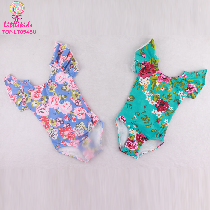 Wholesale Girl Fashion Ruffle Flutter Sleeve Ballet Leotard Baby Fancy Gymnastics Tight Flower Pattern Leotards
