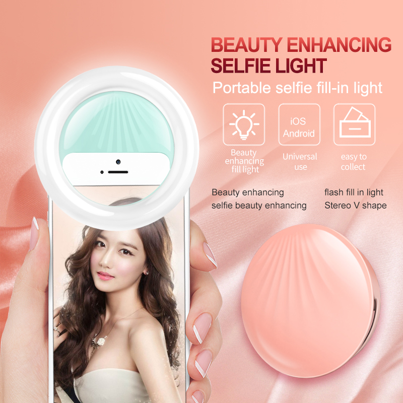 Fashion design mount on cosmetic led fill in light selfie ring light with battery and rechargeable