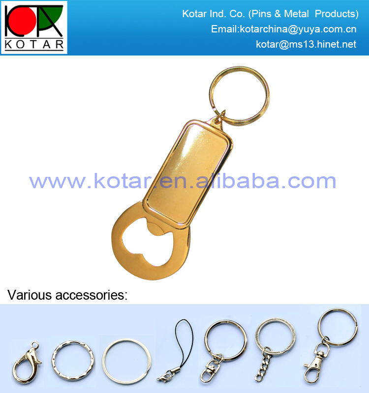 Custom glossy polished metal bottle opener keychain