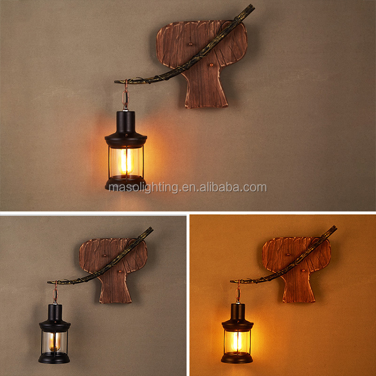Vintage Chinese Style led indoor wall light wooden lamp fixture rustic decor factory wholesale