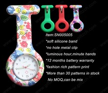 Colorful flower pattern print silicone pocket nurse watch SN005005
