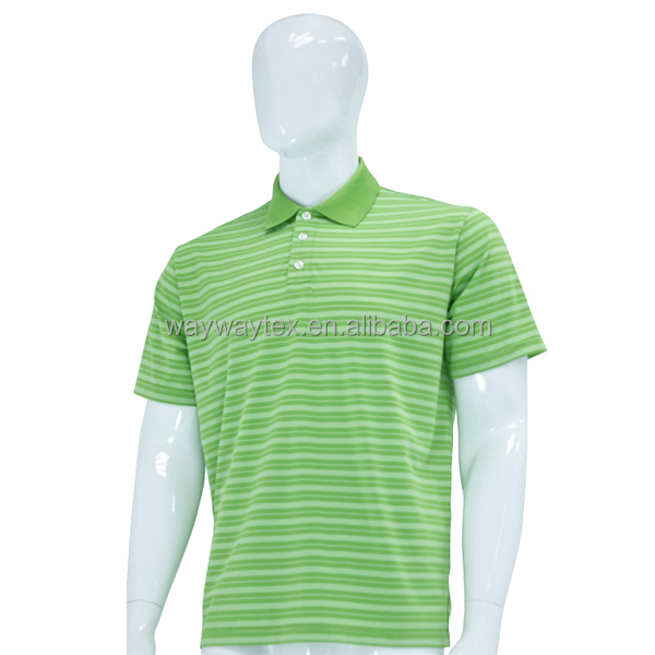 Sports wear men's yarn dye stripe jersey polo tshirt