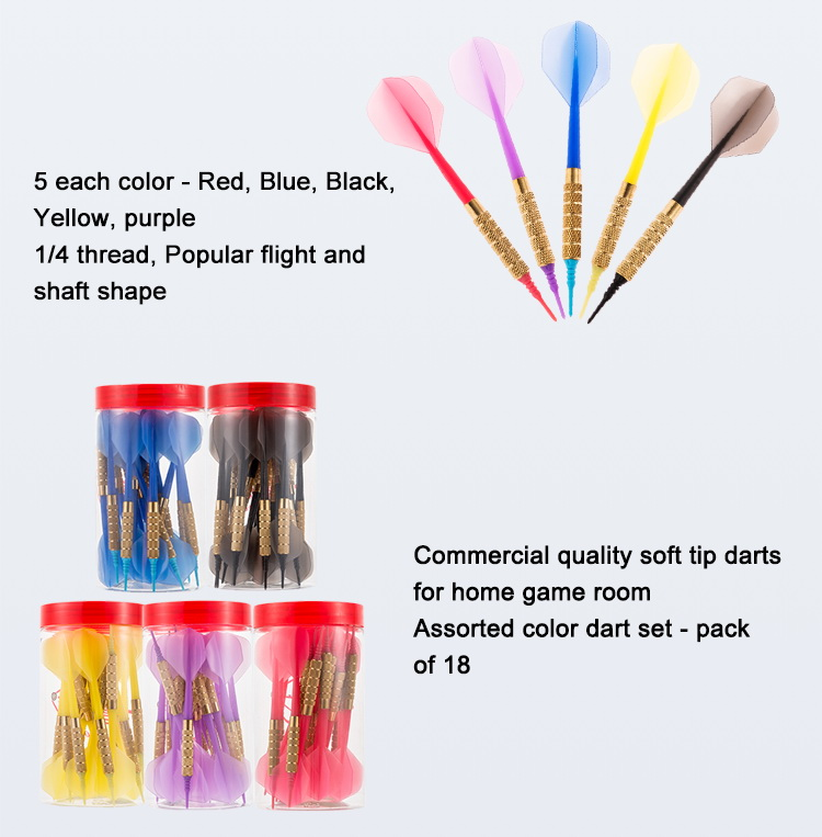 Plastic Soft Tip Darts, Intergrated dart shaft & flight, Lot of 18 Assorted Colors