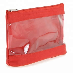 Microfiber Toiletry bag Cosmetic with transparent PVC window