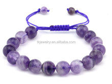 Top Sale Natural Amethyst Beads Bracelet with Handmade Shamballa Bracelet Jewelry