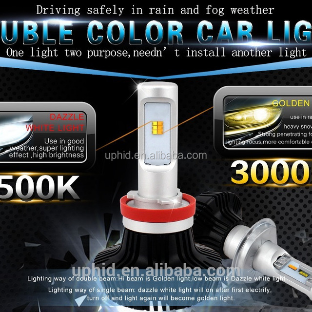 2 in 1 auto car led headlight convension kits H4 H7 6500K 3000K yellow white 2 years warranty