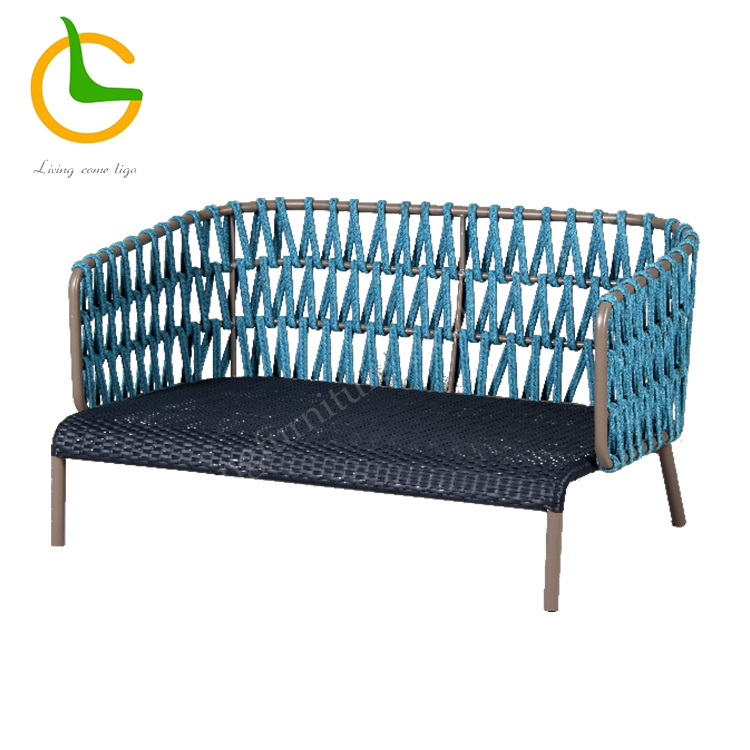 All weather contemporary aluminum blue rope outdoor furniture