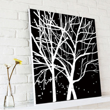 Black and White Trees Decorative Wall Ceramic Picture