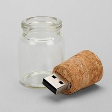 Transparent Glass Bottle USB Flash Driver For 4GB Pendrive